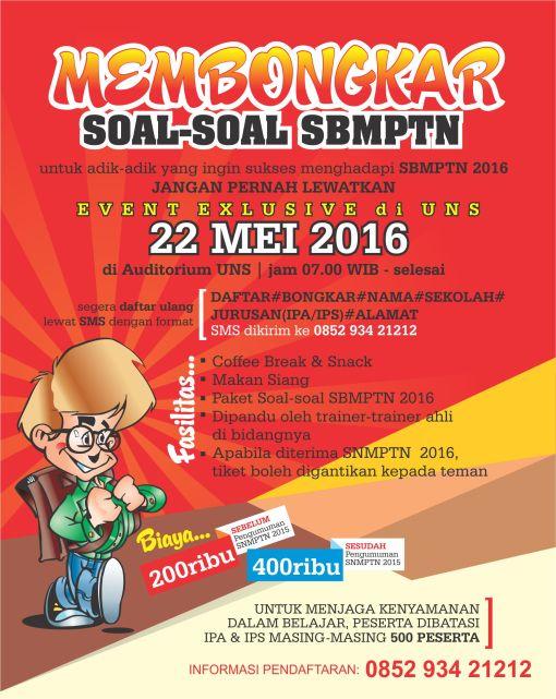 Flyer MEMBONGKAR SOAL-SOAL SBMPTN 2016